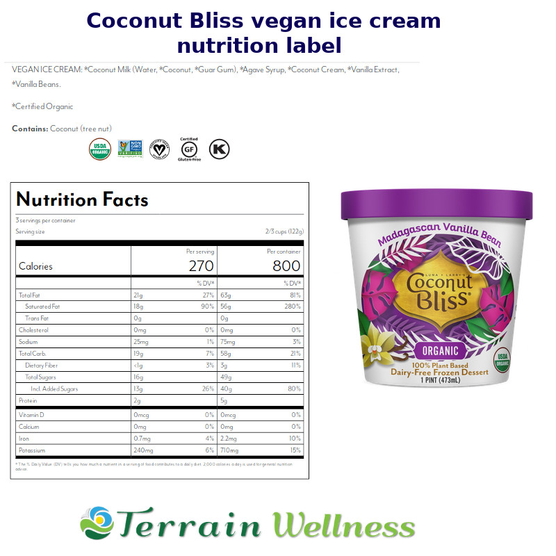 Coconut bliss vegan dairy free ice cream nutrition label