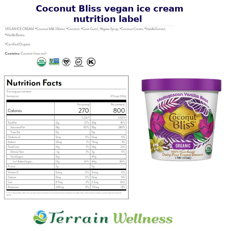 Coconut bliss vegan dairy free ice cream nutrition label