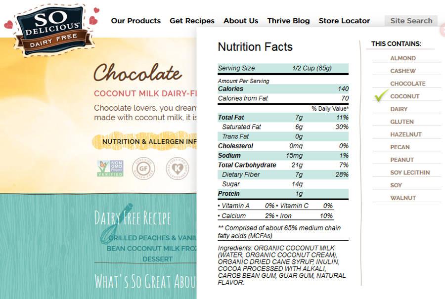 so delicious coconut ice cream nutrition label