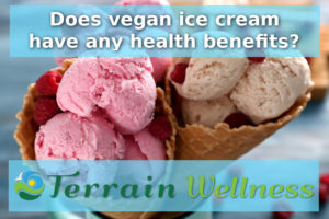Does vegan ice cream have any health benefits? Waffle cones with tasty raspberry ice-cream on blurred background, closeup