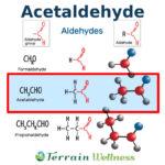 acetaldehyde chemical formula molecular model