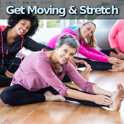 get moving and stretch. people doing yoga.